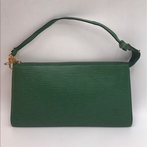 Authentic Louis Vuitton Epi Green Pochette Accs.